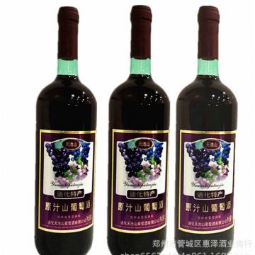 批发大瓶红酒天池山吉林通化特产原汁半甜型山葡萄酒